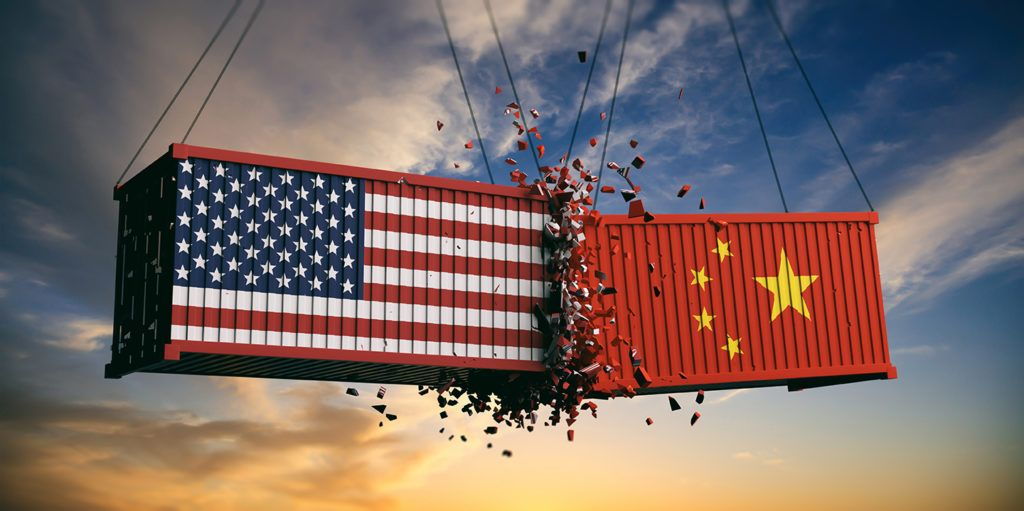 US of America and Chinese flags crashed containers on sky at sunset background