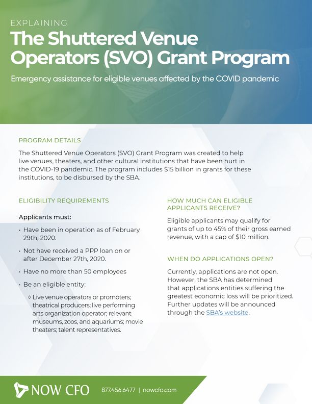 The Shuttered Venue Operators (SVO) Grant Program