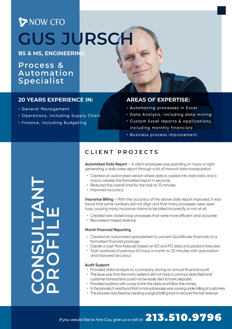 Consultant Profile: One Sheet Gus Jursch: